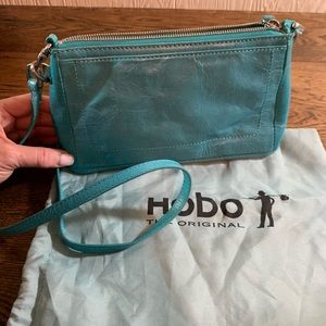 Hobo Leather Crossbody Turquoise Blue Bag w/Wallet